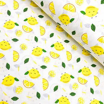 """Турецкая хлопковая ткань ранфорс """"Лимон нарезанный"""" 240 см"""