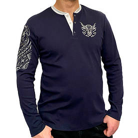 """Джемпер Batiar с вышивкой """"Мужество"""" синий #E/S"""