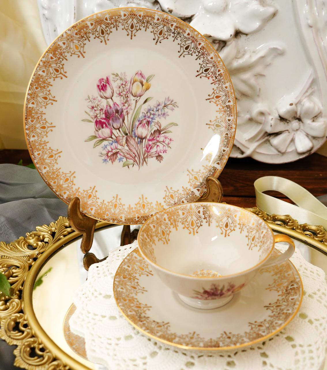 Порцеляновий чайна трійка, чашка, блюдце й тарілка, Porzellanfabrik Oscar Schaller & Co, Німеччина, фарфор