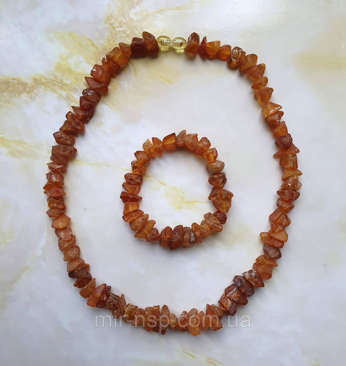 Намисто і браслет натуральний необроблений бурштин (не прес, не плавка) вага 41р