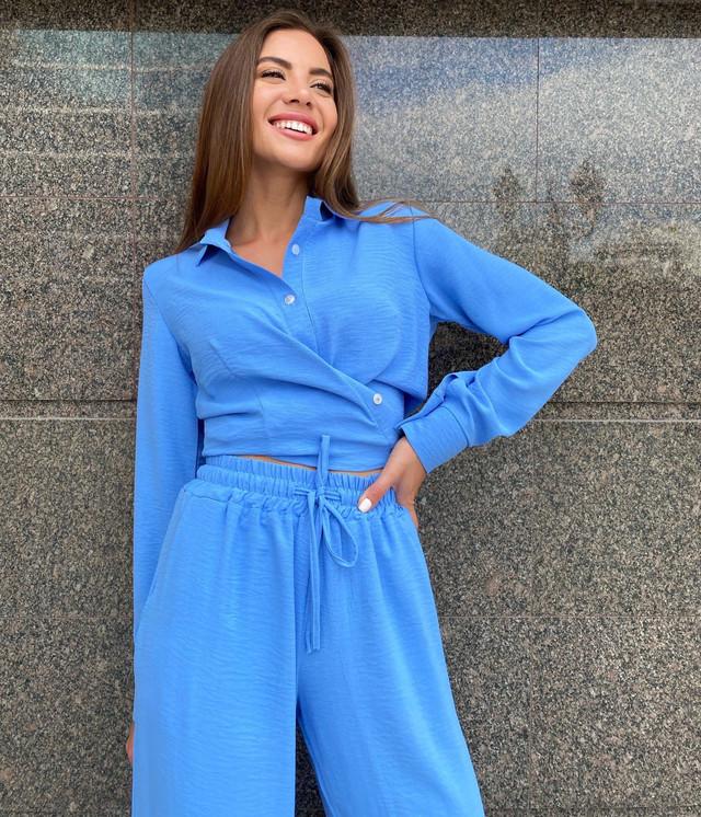 Летний женский костюм брюки палаццо и рубашка