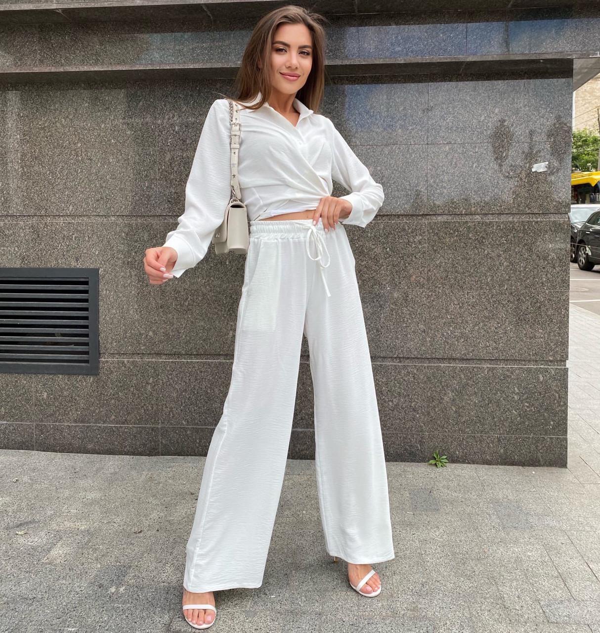 Літній жіночий костюм брюки палаццо і сорочка