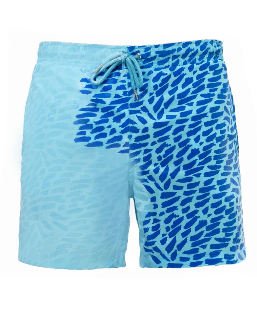 Шорты хамелеон для плавания, пляжные мужские спортивные шорты СИНИЕ Размер 2XL