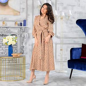 Женское платье миди на запах с поясом в принт 42-50 р