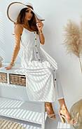 Легкое платье женское с креп жатки длиною миди на пуговицах, пояс на резинке, фото 2