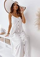 Легкое платье женское с креп жатки длиною миди на пуговицах, пояс на резинке, фото 3