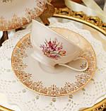 Порцеляновий чайна трійка, чашка, блюдце й тарілка, Porzellanfabrik Oscar Schaller & Co, Німеччина, фарфор, фото 3