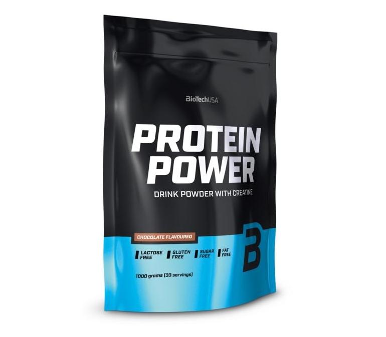 Многокомпонентный протеин BioTech Protein power 1kg. (КЛУБНИКА-БАНАН)
