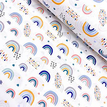 """Турецкая хлопковая ткань ранфорс """"Радуги желто-синие"""" 240 см"""