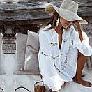 Летняя пляжная хлопковая накидка Белая, фото 6