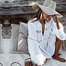 Летняя хлопковая пляжная накидка Белая, фото 6