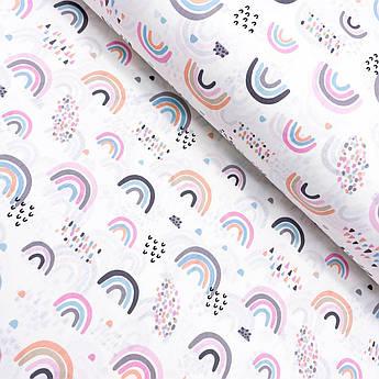 """Турецкая хлопковая ткань ранфорс """"Радуги розово-серые"""" 240 см"""