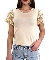 Женская летняя блуза с  кружевом, фабричный Китай