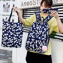 Набор 3 в 1. Цветочный рюкзак девушкам. Сумка шоппер. Школьный портфель. Женский рюкзак антивор. ДР08-3