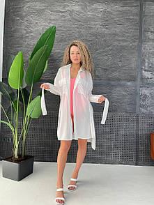 Летняя пляжная туника-рубашка Белая