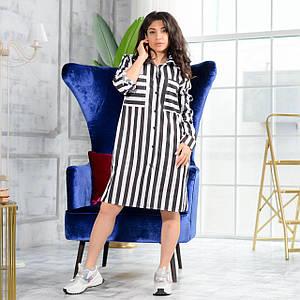 Женское платье свободного кроя на пуговицах в полоску 42-50 р