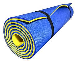 Туристический коврик каремат в поход двухслойный 1800х600х8мм, синий/желтый
