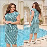Жіночий легке повсякденне плаття сарафан з віскози принт горох квіти розміри більші від 48 до 64, фото 2