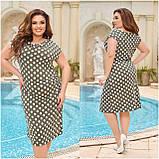 Жіночий легке повсякденне плаття сарафан з віскози принт горох квіти розміри більші від 48 до 64, фото 3