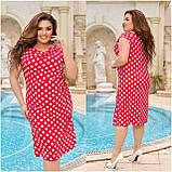 Жіночий легке повсякденне плаття сарафан з віскози принт горох квіти розміри більші від 48 до 64, фото 5