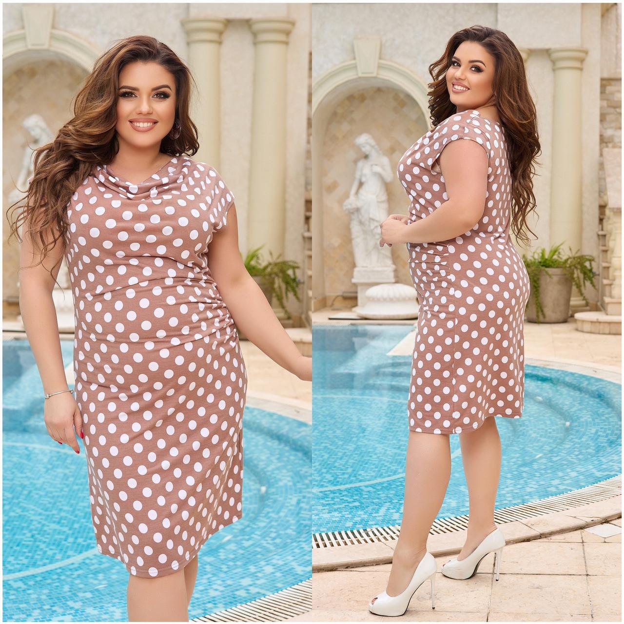Жіночий легке повсякденне плаття сарафан з віскози принт горох квіти розміри більші від 48 до 64