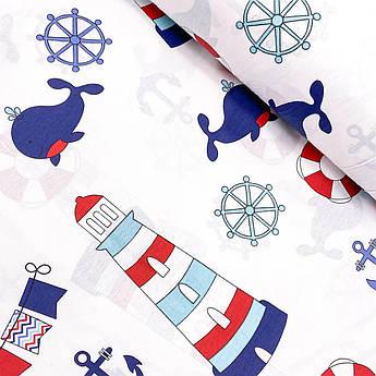"""Турецкая хлопковая ткань ранфорс """"Сине-красные маяки с китами"""" 240 см"""