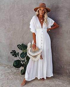 Летняя пляжная накидка из крепа Белая
