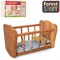 Деревянная кровать для куклы (спальное место 32*17 см, в комплекте постельное) FS 03 Натуральное дерево