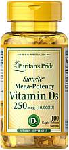 Витамин D3 для костей и зубов Puritan's Pride Vitamin D3 10000 IU 100 softgels