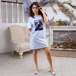 Женское платье-футболка с карманами и принтом 42-50 р