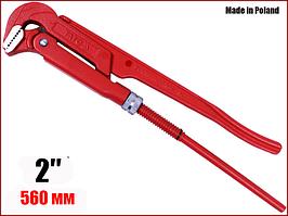 """Ключ трубний важільний цельнокованый 90° 2"""" Yato YT-2212"""