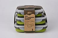 Набор из 3х силиконовых контейнеров Tramp (400/700 / 1000ml) olive, фото 1