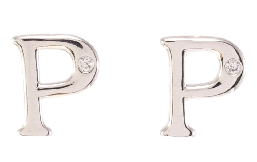 """Сережки ХР Родій гвоздики (пусети) """"Букви P з вставкою цирконій"""""""