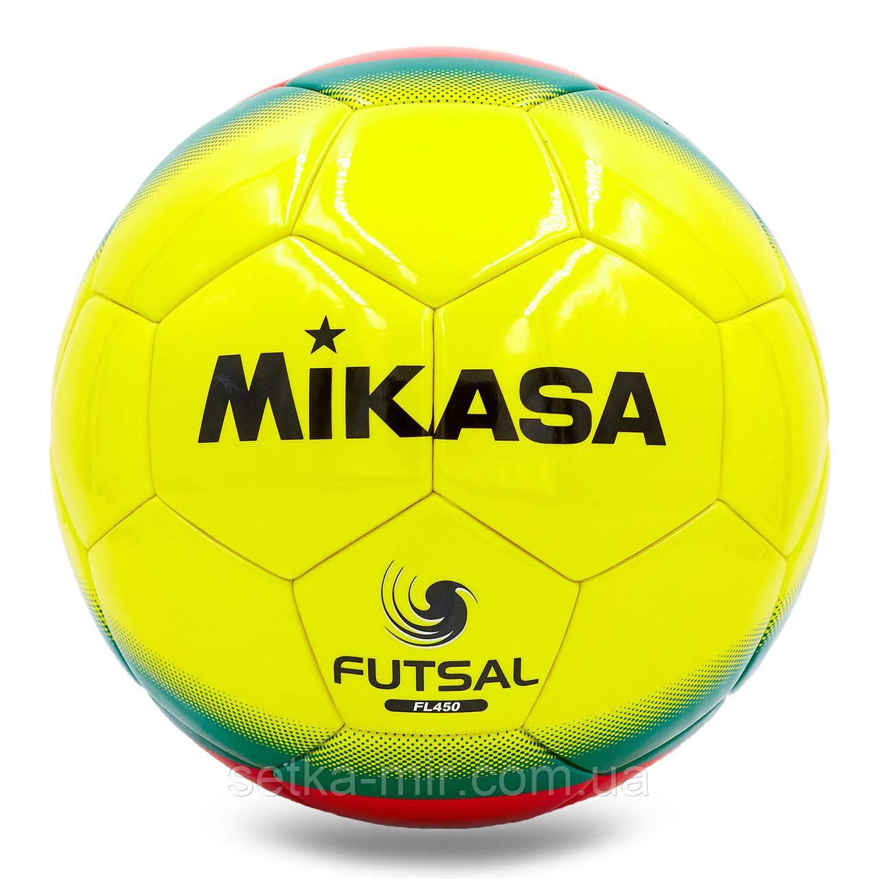 Мяч для футзала №4 Клееный-PU MIK FL-450, желтый-красный-зеленый