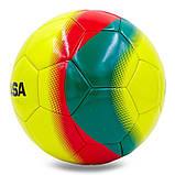 Мяч для футзала №4 Клееный-PU MIK FL-450, желтый-красный-зеленый, фото 3