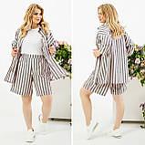Льняной костюм тройка рубашка шорты-бермуды футболка принт полоска размер от 48 до 66, фото 5