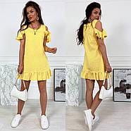 Женское платье короткое свободного кроя с воланами, фото 3