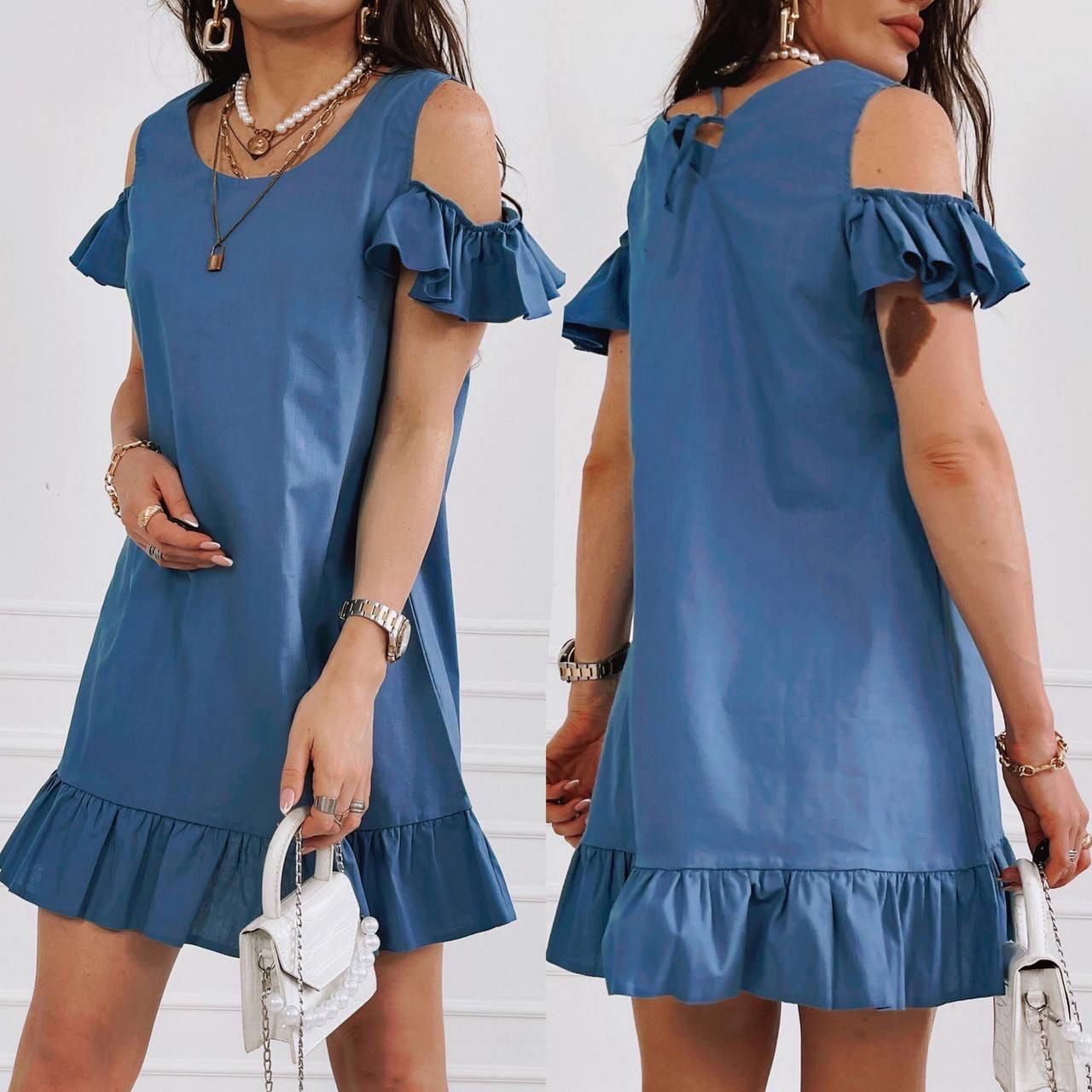 Легке льняне плаття вільного крою з відкритими плечима