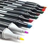 Набір скетч маркерів 24 шт для малювання двосторонні професійні спиртові фломастери, фото 4
