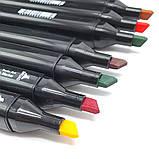 Набір скетч маркерів 24 шт для малювання двосторонні професійні спиртові фломастери, фото 5