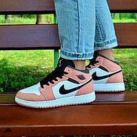 Женские кроссовки Nike Air Jordan 1 GS PINK QUARTZ, фото 1