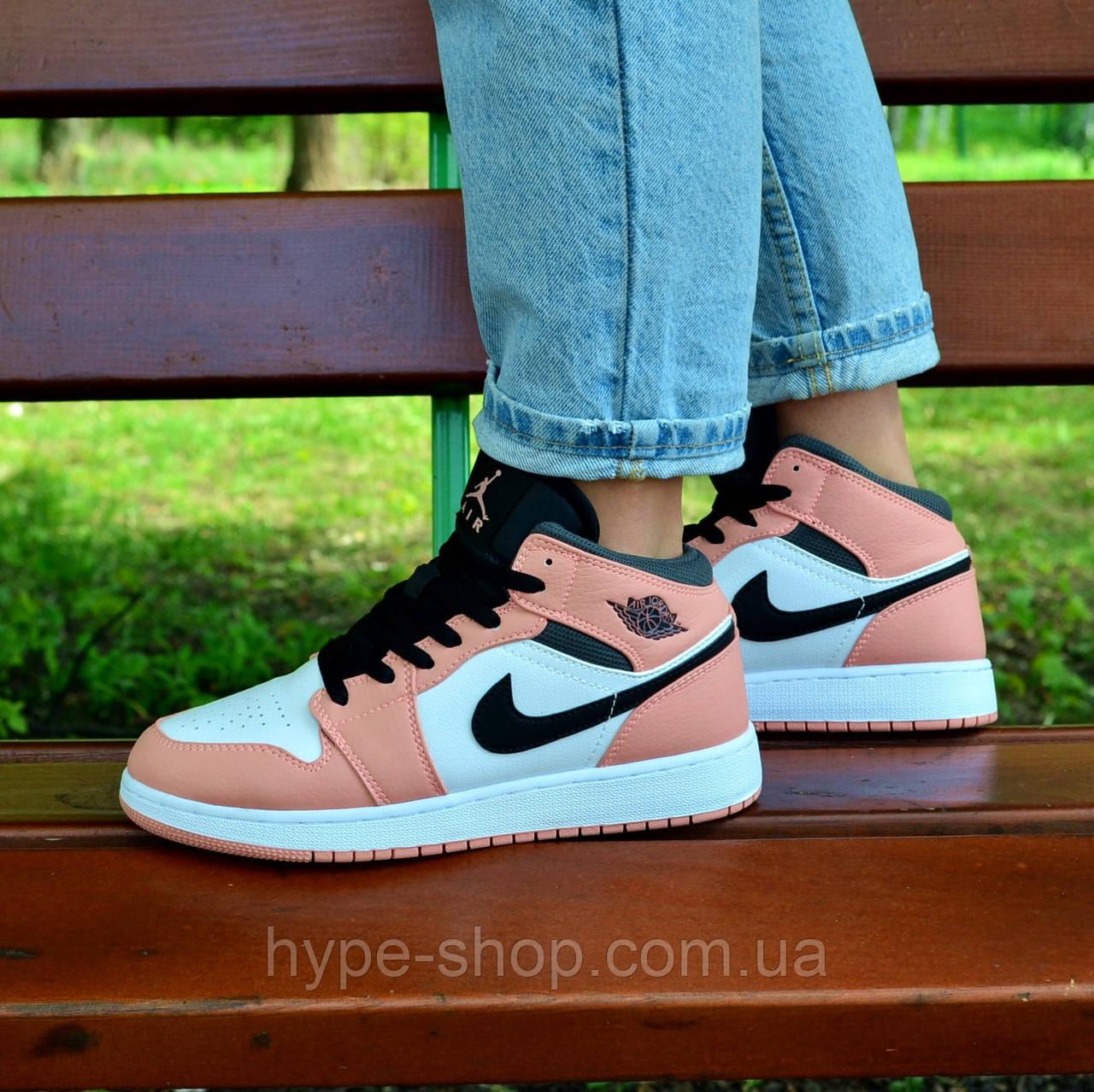Женские кроссовки Nike Air Jordan 1 GS PINK QUARTZ