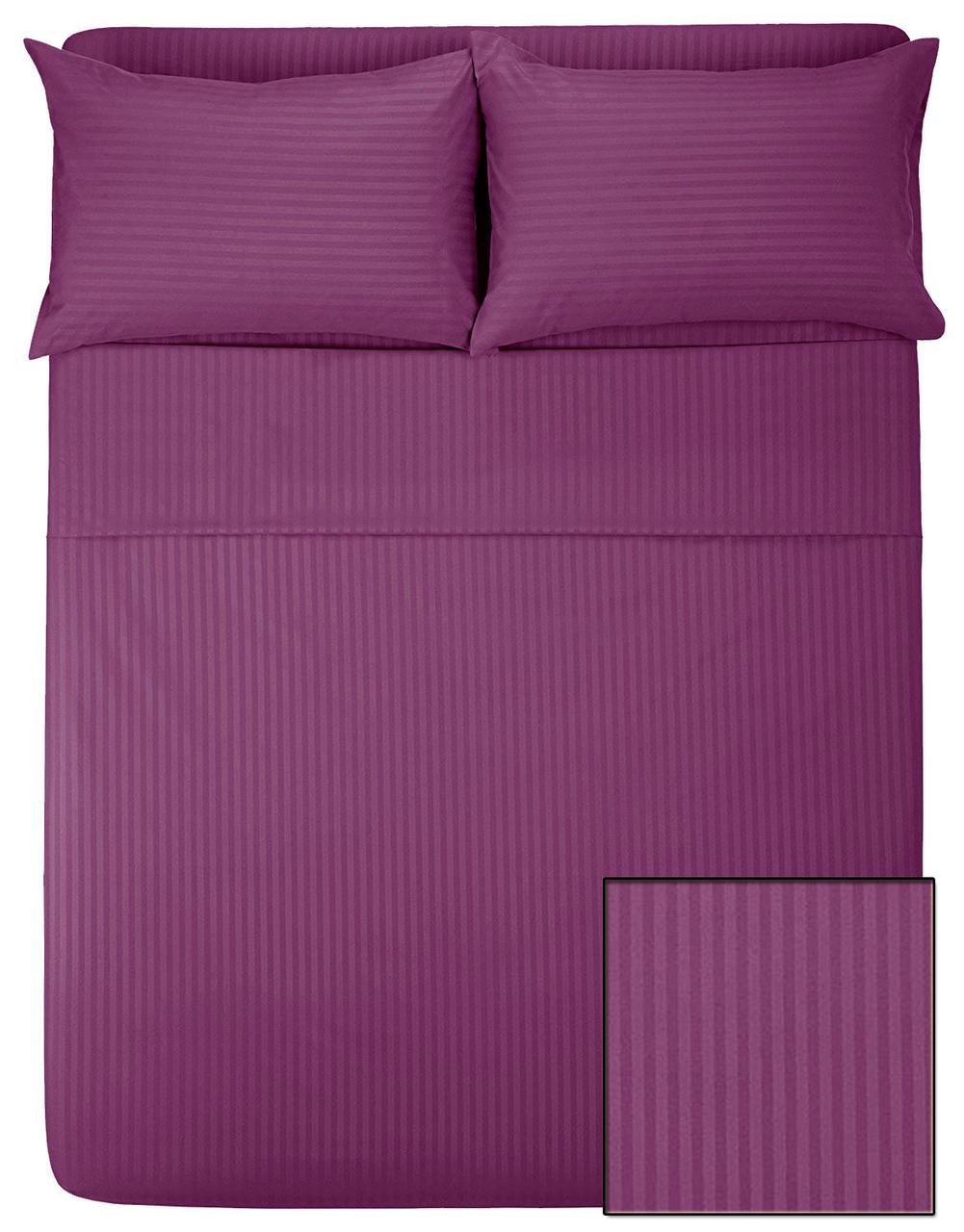 Комплект постельного белья САТИН-СТРАЙП (баклажан, 100% хлопок)