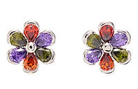 """Сережки ХР Родій гвоздики (пусети) """"Квіточки з різнокольоровими кристалами"""""""