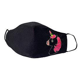 """Підліткова захисна маска для обличчя """"Єдиноріг"""" чорна #E/S"""