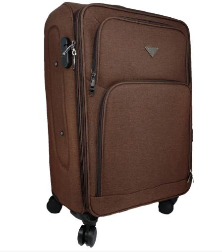 Дорожный чемодан тканевый на 4-х колесах коричневый
