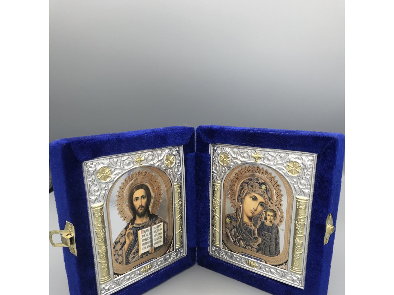 Икона двойная, книжка в синем бархате