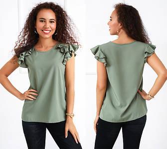 Класична блуза жіноча з воланами прямого фасону