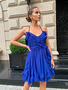 Летнее шифоновое платье с пышной юбкой и открытой спиной 40-44 р