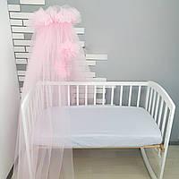 Балдахин-шатёр на детскую кроватку розовый из мягкого фатина(евросетка) с большими бубонами